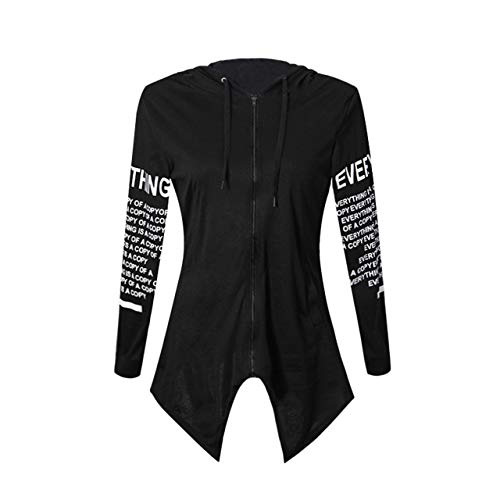 Prima05Sally Brief drucken Pullover Harajuku Hoodies Sweatshirts Unregelmäßige Top Sportswear mit Back Kick Pleat & Zipper Design für Frauen -