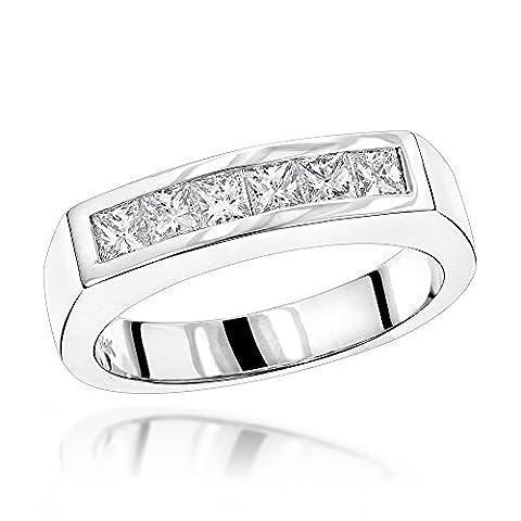 Luxurman Unique 14K Natural 0.6 Ctw Real Diamonds Mens Wedding Band (White Gold Size 6)
