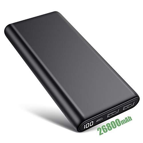 iPosible Powerbank 26800mAh mit LCD Digital Display Externer Akku Portable Ladegerät 2 USB Ports Ausgängen Akkupack für Handy, Tablet und weitere USB Gerät