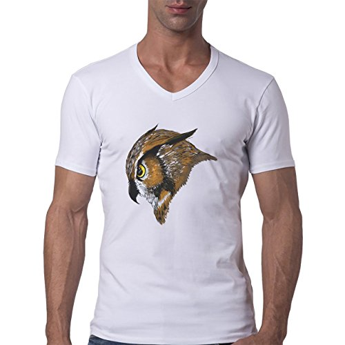 Owl Bird Night Midnighter Head Brown Angry Herren V-Neck T-Shirt Weiß