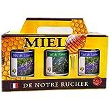 Coffret miels Lavande et Romarin. Pour amateurs gourmands. 3 pots de 500g produits en France : 2 de Lavande + 1 de Romarin, direct apiculteur, 100% naturels récoltés en Provence