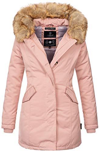 Marikoo Damen Winter Jacke Parka Mantel Winterjacke warm gefüttert B362 [B362-Karmaa-Rosa-Gr.XL]