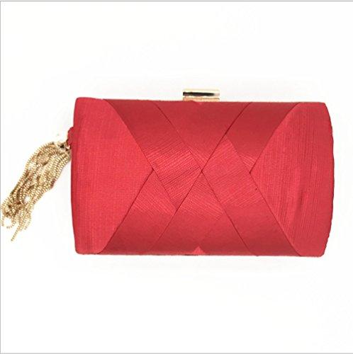 Diy Family®Borse per la cena, borse di vestito, handmade nappe ciondolo borse, borse a mano di seta, Abito da sera borsetta,borse Fashion Street donna Rosso