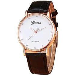 Zolimx Analog Legierung Quarz Armbanduhr Retro Design Lederband (Schwarz)