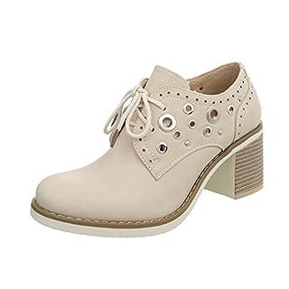 Ital-Design Schnürer Damen-Schuhe Pump Schnürsenkel Halbschuhe Beige, Gr 40, 2490-