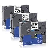 Labelwell Ersatz für Brother TZe221 TZe231 TZe241 TZ Schriftband 9mm / 12mm / 18mm x 8m Schwarz auf Weiß für Brother P-Touch PT 1000 D450VP D400 E300VP E500VP P900W P950NW D600VP Beschriftungsgerät