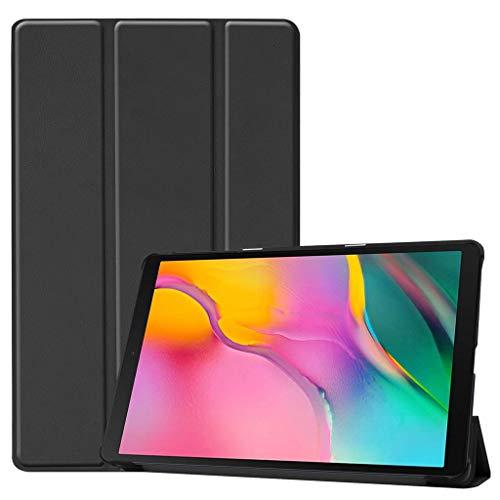 Für 2019 Samsung Galaxy Tab A 10.1 Zoll SM-T515/ SM-T510 Intelligentes Magnetische Schlank Ultradünn Ledertasche Ständer Dreifachgefaltet Anti-Fall Hüllen Abdeckung mit Schlaf/Wach (Schwarz)