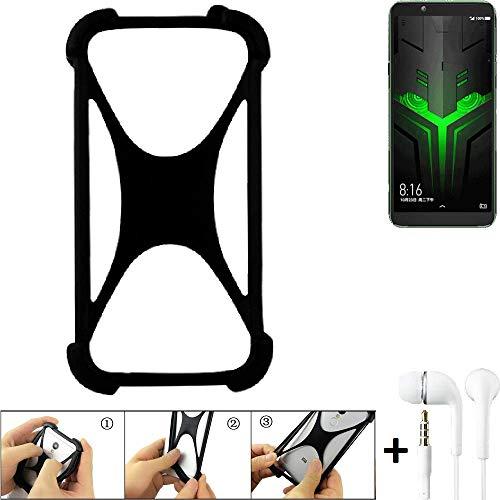 K-S-Trade Handyhülle für Xiaomi Blackshark Helo Schutzhülle Bumper Silikon Schutz Hülle Cover Case Silikoncase Silikonbumper TPU Softcase Smartphone, schwarz (1x), Headphones