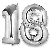 Vordas Luftballons 18 Geburtstag XXL Silber, 40 Zoll Luftballon 18 Geburtstag Helium, Ideal zum 18. als Deko