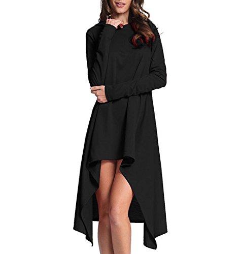 ZEZKT Kleid Lang Pullover Freizeit Outwear Casual Sweatshirt Damen Mantel Frau Langarm Lässige Oberteile Lose Bluse Lang Sweatshirt Freizeit Übergangs (S, Schwarz) (Pullover Button-hals)
