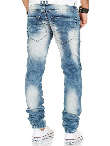 Jeans Herren Hose Denim Destroyed Vintage Skinny Fit Clubwear Used Look Chino Blau