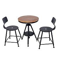 HLC Adjustable Kitchen Dining Table Set Bar Table Set Pub Bistro Table Chair Set