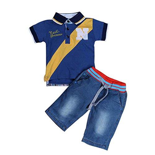 Masterein Kid Boy Short Sleeve Cowboy-Polo-Shirt T-Shirt Hosen Jeans Outfit Kleidung Anzug Dunkelblau 3T