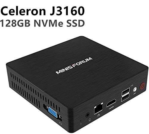 Mini PC Intel Celeron J3160 Quad-Core-Prozessor (bis zu 2,24 GHz), 4 G DDR3 / NVMe 128GB SSD Windows 10 Pro 4K HDMI & VGA Display/Dual Band WALN/USB 3.0 / BT 4.2/Auto Power On