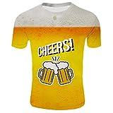 T-Shirt 3D Stampa Figura Girocollo Sportivo Maglietta Top in Camicetta Comfort Moderna con Stampa Maniche Corte 3D Stile Estivo da Uomo (XXL,4- Giallo)