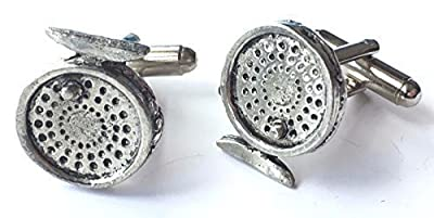 Fly Fishing Reels Hand Made Pewter Cufflinks (N309) Gift Boxed by emblems gifts