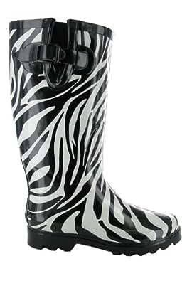 D82 Zebra Wellies Femmes Mesdames Bottes de pluie Sz 7 [Vêtements]