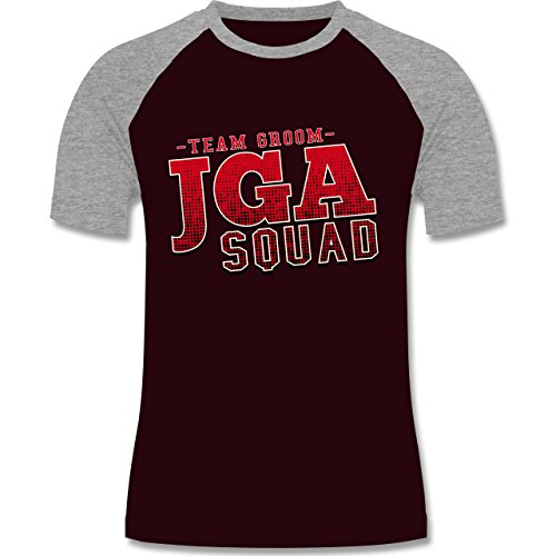 JGA Junggesellenabschied - JGA Squad Team Groom - zweifarbiges Baseballshirt für Männer Burgundrot/Grau meliert