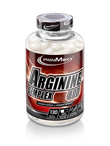 IronMaxx Arginin Simplex 800 – Hohe Konzentration von L-Arginin Aminosäuren – Unterstützend bei Muskelaufbau, Kraftaufbau und Ausdauertraining – Fördert die Proteinsynthese – Supplement – 130 Kapseln