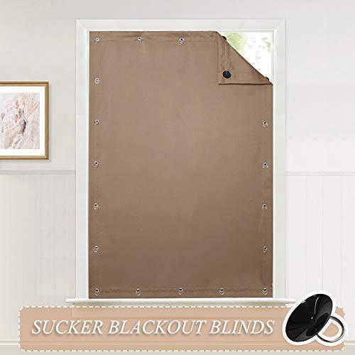 Pony dance tenda interno mocha per finestra - tendaggio termico isolante regolabile con ventose da sole/facile installazione dimensione regolabile, 1 pannello, 129 x 198 cm (l x a)