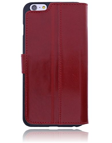 Burkley Apple iPhone 6 Plus / iPhone 6S Plus Hülle | Handyhülle | Schutzhülle | Handytasche | Tasche | Cover | Case mit Standfunktion im Vintage / Retro Look (Schwarz-Tobacco) Rot