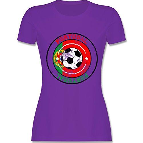 EM 2016 - Frankreich - Portugal Kreis & Fußball Vintage - tailliertes Premium T-Shirt mit Rundhalsausschnitt für Damen Lila