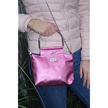 pinke Handtasche Lederhandtasche mit Metallgriffen
