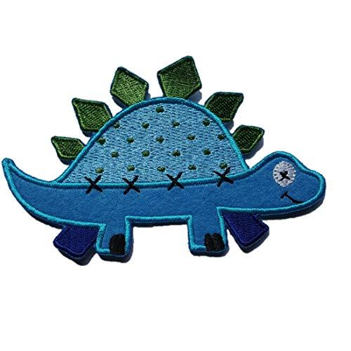 TrickyBoo 2 Aufbügler Stegosaurus 11X7cm Blau Karo Stern 9X9cm Set Aufnäher Flicken Applikationen zum Ausbessern von Kinder Kleidung mit...