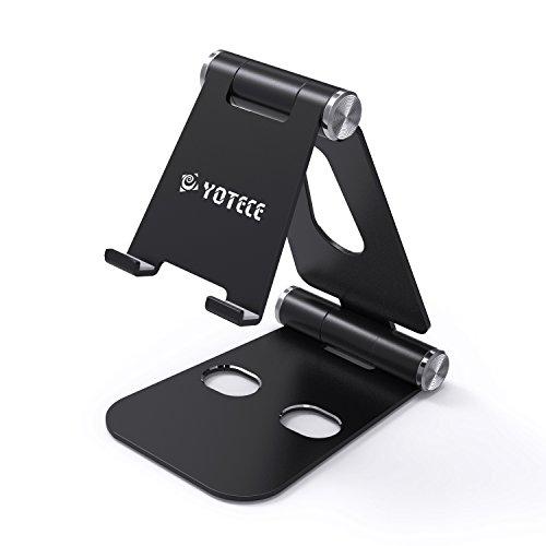 Handy Ständer, Yotece Multi-Winkel Aluminium Ständer mit 270 Grad Kugelgelenk [4-10.5 inch] Handyhalterung, iPhone Dock, Wiege,für Handy,Smartphone,E-Reader,und Ipad[Schwarz]