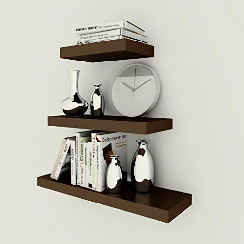 USHA Furniture Floating Wall Shelf in Brown (24 inches ,18 inches ,12 inches)