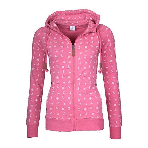 Newbestyle Sweatjacke Damen Pullover Jacke Hoodie V Ausschnitt Pulli Sweatshirt Kapuzenpullover Print Oberteile mit Kordel und Zip Rosa L Rosa Zip
