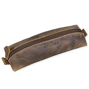 STILORD 'Willem' Estuche Escolar de auténtico Cuero Vintage Cartuchera pequeña para lápices, bolígrafos Portatodo…