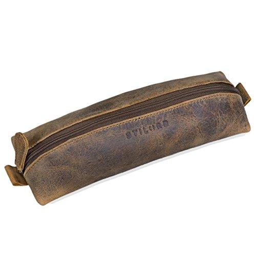 Stilord 'willem' astuccio in pelle portapenne cuoio vintage adulto portacolori università ufficio porta penne uomo donna, colore:marrone medio