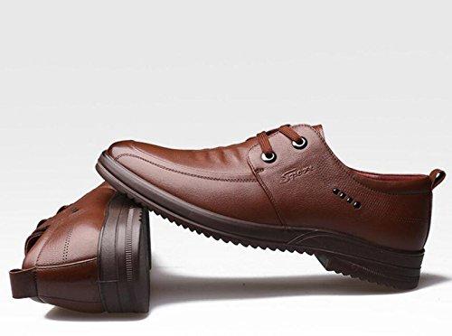 GRRONG Herren Lederschuhe Freizeit-echtes Leder Art Und Weise Black Brown Brown
