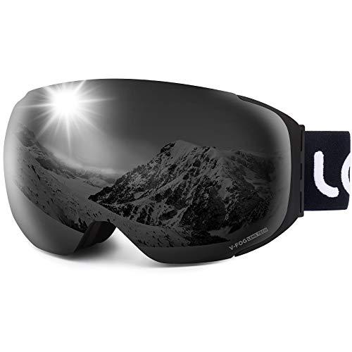 LEMEGO Skibrille Ski Goggles Snowboardbrille Doppel-Objektiv Anti-Fog Rahmenlose UV-Schutz Schneebrille Helmkompatible Magnetisch Wechselobjektive Brille Für Damen Herren Snowboard Skifahren -