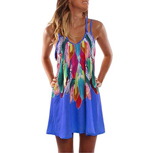 Und Blau Kleid Kostüm Weiß Gestreiften - VEMOW Heißer Elegante Damen Frauen Sommer Boho Casual Gedruckt Maxi Party Cocktail Strand O-Ausschnitt Spaghetti Strap Kleid Sommerkleid(Blau, EU-42/CN-L)