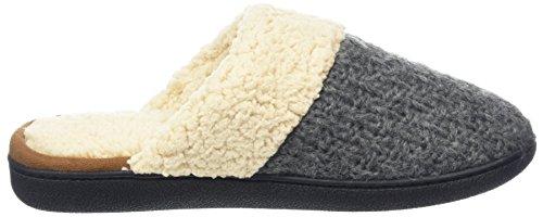 Dearfoams Textured Knit Closed Toe Scuff, Ouvertes à larrière femme Grey (Dark Heather Grey)