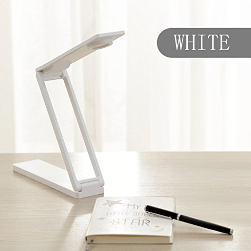 Table Lamp Ultra-slim Energy-efficient Eye-care Desk Lamp USB Charging Table Lamp Folding Office Bedroom Reading Lights Touch Switch 2W LED Light Source (Carry Light Source) ( Color : White )