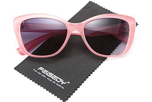 FEISEDY Feedy Polarisierte Vintage Sonnenbrille American Square Jackie O Cat Eye Sonnenbrille B2451 Gr. 56, rose