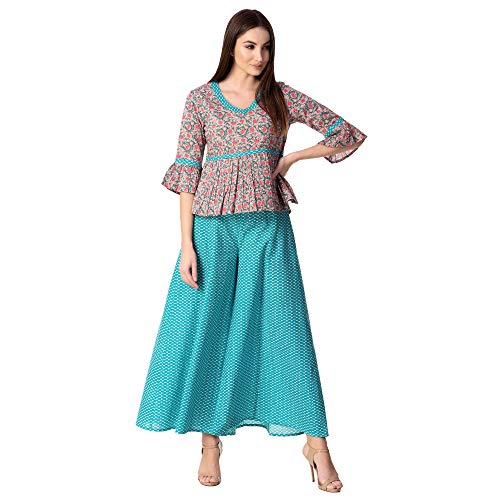 Khushal K Womens Cotton Top With Palazzo Set