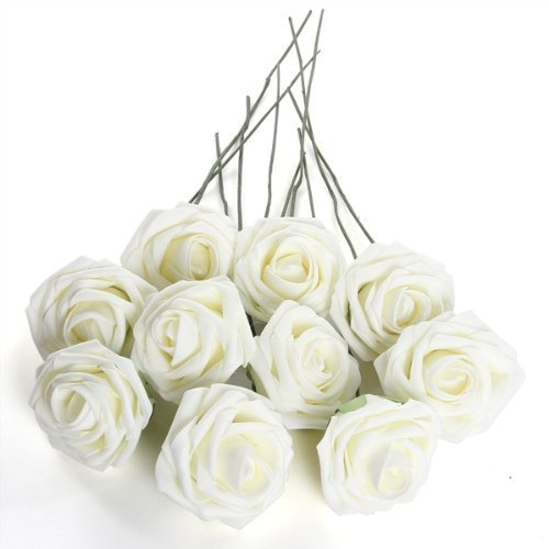 sodialr-ivory-artificial-foam-rose-bouquet-10-pe-floral-flowers-bridal-wedding-decor-7cm