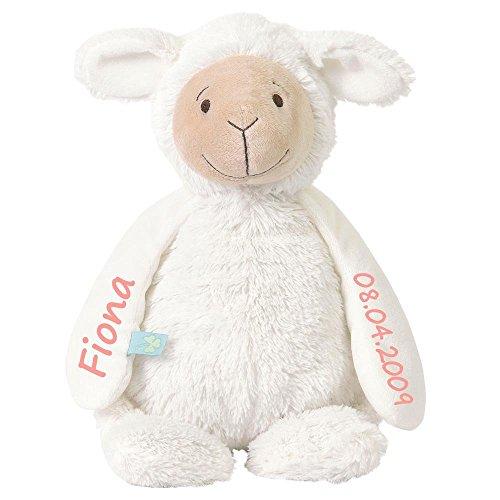 Stofftier Schaf mit Namen und Geburtsdatum personalisiert Geschenk 20cm weiß Aufdruck rosa