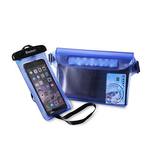IPX8 Wasserdichte Taschen + Wasserdichte Hülle, Blusmart Wasserdichte handyhülle Beutel (2 Stück) für iPhone 6 6s Plus 7 7PLUS 5 5S Huawei P8 P9 Samsung Galaxy S6 S7