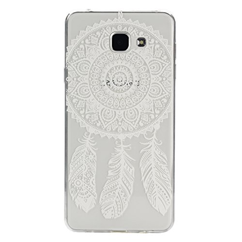 Galaxy A7 (2016) Hülle, SainCat Silikon Hülle Tasche Handyhülle [Kratzfeste, Scratch-Resistant] TPU Gel Bumper Case Weiches Transparentes Silikon Schutzhülle Crystal Kirstall Clear Case Durchsichtig M Weiß Traumfänger