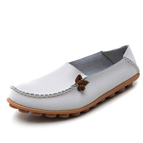 IFashion Damen Leder Mokassin Bootsschuhe Slip on Loafers Slipper Flats Low-top Erbsens Chuhe Weiß 39.5