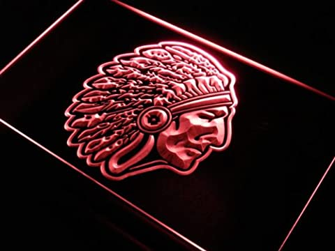 Enseigne Lumineuse s141-r Red Indian Chief Bar Beer Neon Light Sign