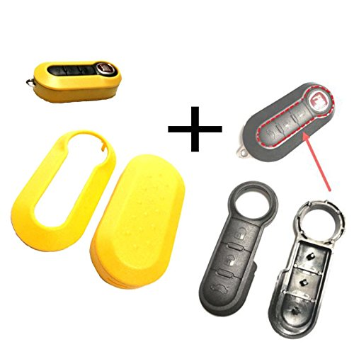 1 Stück Für Fiat 500 Bravo Evo Doblo Schlüssel Funkschlüssel Autoschlüssel Tastenfeld Gummi + Gehäuse