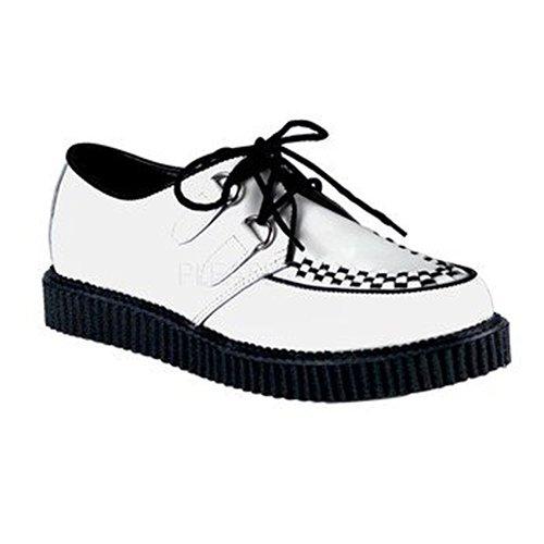 Demonia Creeper-602, chaussures basses à lacets homme Blanc - blanc
