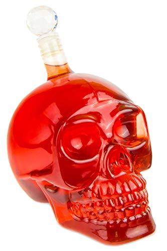 Blue Fox Skull- Flasche (1000 ml) für die Hausbar, Party, Totenkopfdesign, Vodka, Whiskey- Flasche, Kristall- Schädel, Totenkopf, Wein- Dekanter, Schnapsglas, Farbe: Transparent