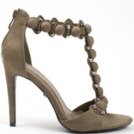 Ideal Shoes - Sandales ouvertes effet daim avec brides en T Viera Taupe